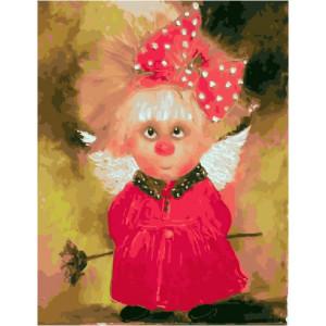 """GX21661 """"Домовенок в розовом платье с бантиком"""", 40х50 см"""