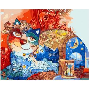 "GX22135 Картина по номерам ""Звездный кот"", 40х50 см"