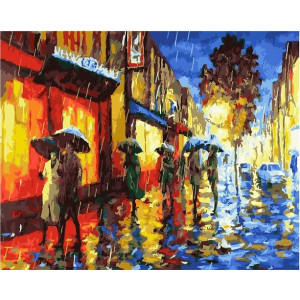 "GХ22202 Картины по номерам ""Дождь в огнях витрин"", 40х50 см"