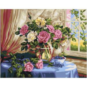 "GX22285 Картина по номерам ""Розы и черника"", 40х50 см"