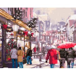 """GX22512 Картина по номерам """"Город перед Рождеством"""", 40х50 см"""