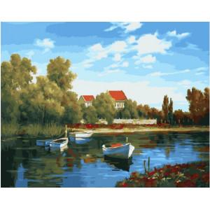 """GX22766 Картина по номерам """"Белые лодочки"""", 40х50 см"""