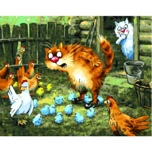 "GX22945 Картина по номерам ""Удивленный кот"", 40х50 см"