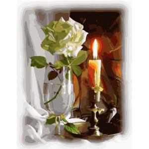 """GX4507 Картина по номерам """"Роза и свеча"""", 40х50 см"""