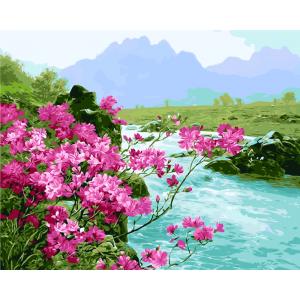 "GX5676 Картина по номерам ""Цветение багульника"" 40х50 см"