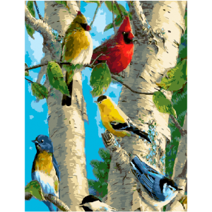 "GX5848 Картина по номерам ""Птички на березе"", 40х50 см"