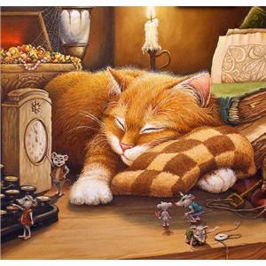 """GX22065 """"Рыжий кот спит на столе"""", 40х50 см"""