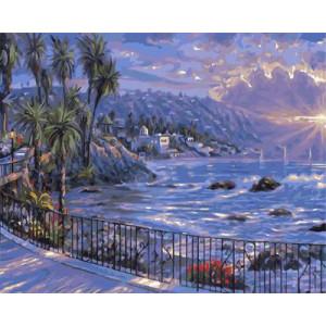 """GХ3863 """"Пальмы на берегу моря на рассвете"""" , 40х50 см"""