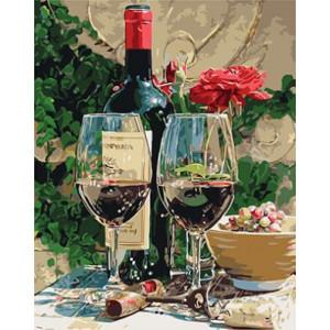 """GХ3919 """"Красный цветок и бутылка вина"""" , 40х50 см купить в Омске недорого"""