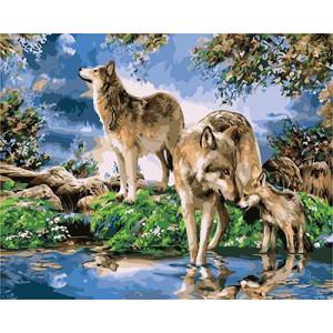 """GХ3922 """"Волчья семья у ручья"""" , 40х50 см"""