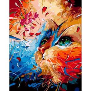 """GХ3949 """"Цветная кошка смотрит вверх"""" , 40х50 см купить в Омске недорого"""