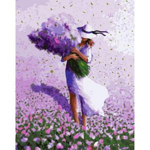 """GХ3951 """"Девушка с охапкой цветов"""" , 40х50 см купить в Омске недорого"""