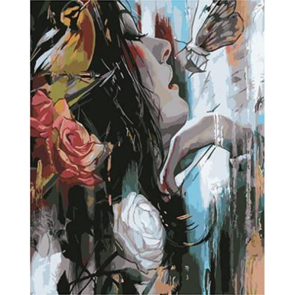 """GХ4037 """"Девушка, розы, бабочка"""" , 40х50 см"""