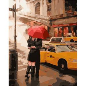 """GХ4070 """"Пара под красным зонтом у такси"""" , 40х50 см купить в Омске недорого"""