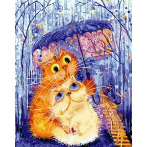 """GХ4085 """"Кот с кошкой под зонтом"""" , 40х50 см"""