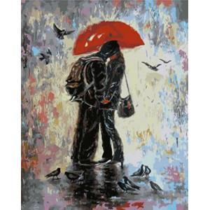 """GХ4099 """"Поцелуй под красным зонтом"""" , 40х50 см купить в Омске недорого"""