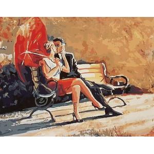 """GХ9130 """"Красный зонт, поцелуй, лавочка"""", 40х50 см купить в Омске недорого"""