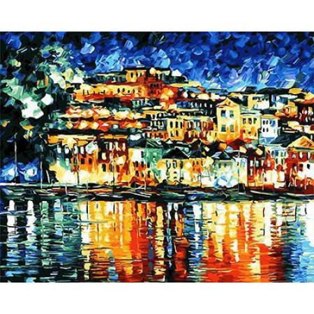 GХ4348  картины по номерам Город на берегу моря  40х50 см