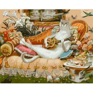 "GХ4453 ""картина раскраска по номерам Белый кот играет на гитаре"" , 40х50 см"