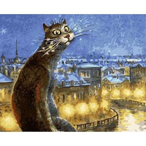 """GХ4455 Картина раскраска по номерам """"Кот со звездными усами"""" , 40х50 см"""