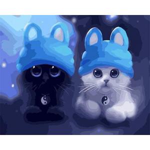 """GХ4494 Картина раскраска по номерам Два котенка в голубых шапках"""" , 40х50 см"""