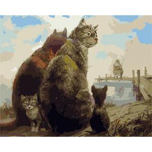 """GХ4559 Картина раскраска по номерам Кошачья семья ждет улов"""" , 40х50 см"""