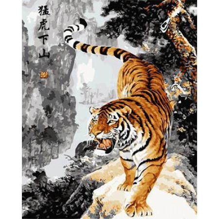 "GХ4715 Картина по номерам Тигр идет"", 40х50 см"