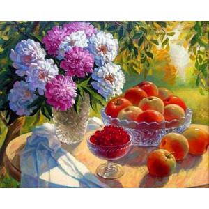 GХ4739 картины по номерам Пионы , яблоки и вишня, 40х50 см