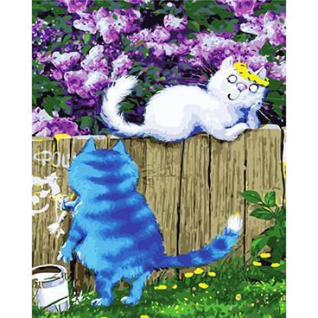 GХ4750 картина по номерам Белая кошка на заборе и синий кот, 40х50 см
