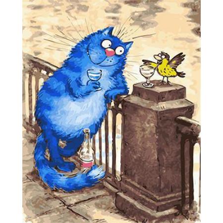 GХ4753 Раскраска по номерам Синий кот пьет с воробьем, 40х50 см