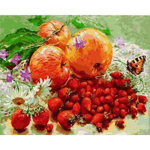 GХ4786 Картина по номерам Яблоки, клубника, земляника, 40х50 см