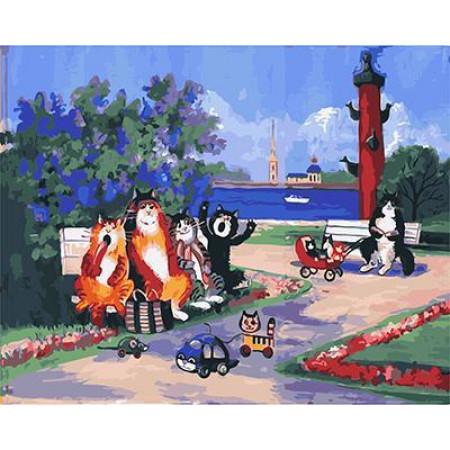 GХ4787 картины по номерам Коты в сквере, 40х50 см