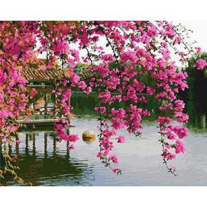 GХ4840 Картина по номерам Розовые цветы над беседкой в озере, 40х50 см