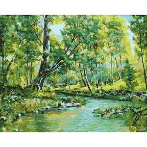 GХ4881 картина по номерам Речка в лесу, 40х50 см