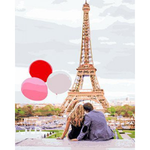 GХ4886 Картина раскраска по номерам Пара с шарами на фоне Эйфелевой башни, 40х50 см