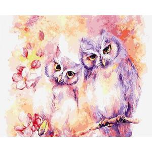 GХ4913 Картина раскраска по номерам Пара филинов  40х50 см