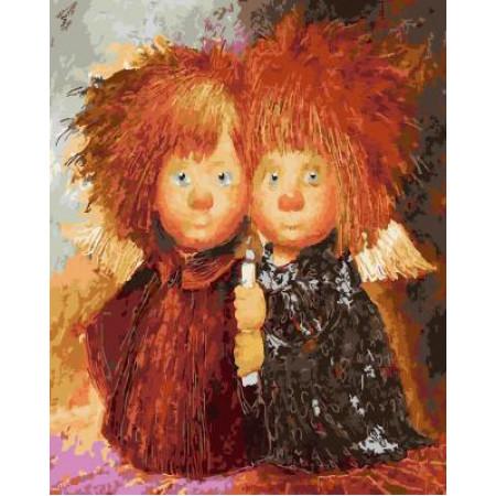GХ4923 Картина по номерам Два домовенка со свечкой, 40х50 см