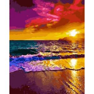 GХ4940 Картины по номерам Прибой на закате, 40х50 см