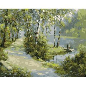GХ4958 картина по номерам Дорожка вдоль озера  40х50 см