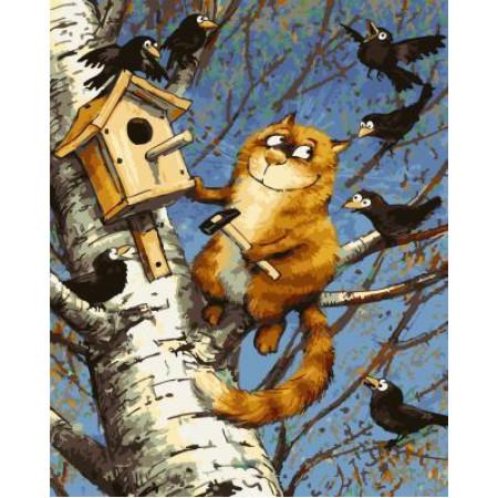 GХ4971 картина по номерам Кот прибивает скворечник, 40х50 см