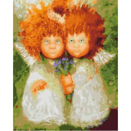 GХ4972 картина по номерам Пара домовят с цветами , 40х50 см