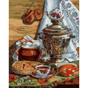 GХ4973 картины по номерам Самовар, пирог, чай, 40х50 см
