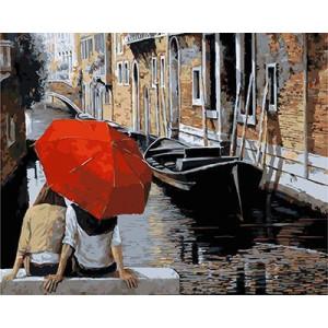 GХ4987 картина по номерам Пара под красным зонтом у канала, 40х50 см