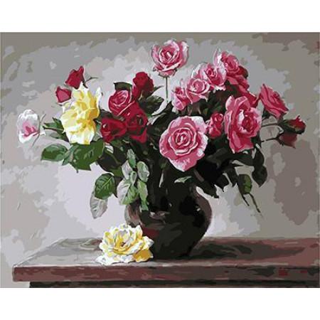 GХ4997 картина по номерам Розы на столе  40х50 см