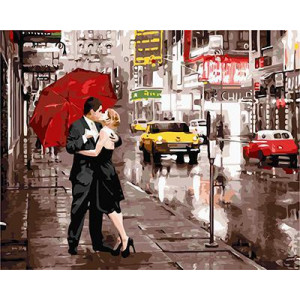 GХ5003 картина по номерам Поцелуй на улице, 40х50 см
