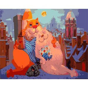 GХ5033 картина раскраска по номерам Кот с кошкой на крыше, 40х50 см
