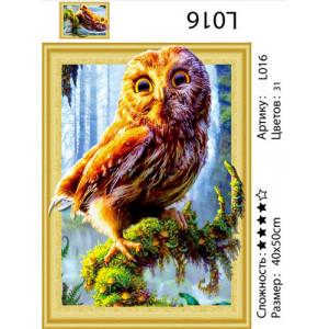 "АМ3D L016 алмазная мозаика ""Сова на ветке"", 40х50 см"