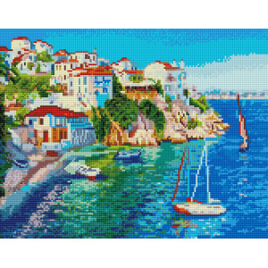 "VА123 Алмазная мозаика на подрамнике ""Белые домики Греции"",   40х50 см"