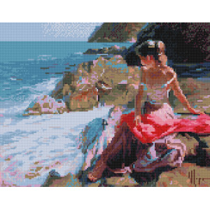 """VА125 Алмазная мозаика на подрамнике """"Девушка на берегу"""",   40х50 см"""