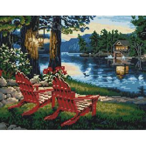 "VА126 Алмазная мозаика на подрамнике ""Тихий вечер у реки"",   40х50 см"